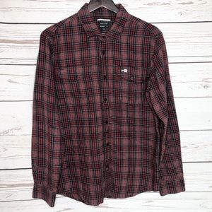 RVCA Red and Black Plaid Button Up Shirt